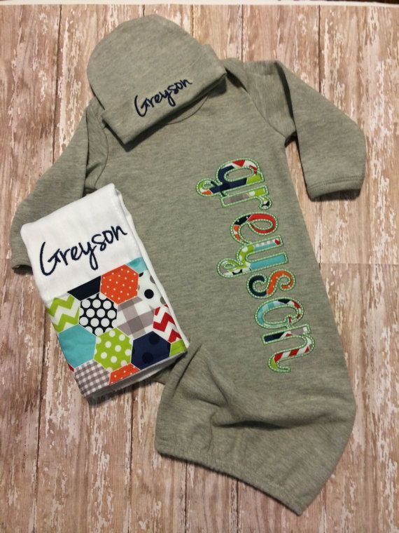 Hey, I found this really awesome Etsy listing at https://www.etsy.com/listing/201535091/baby-boy-coming-home-outfit-gown-beanie