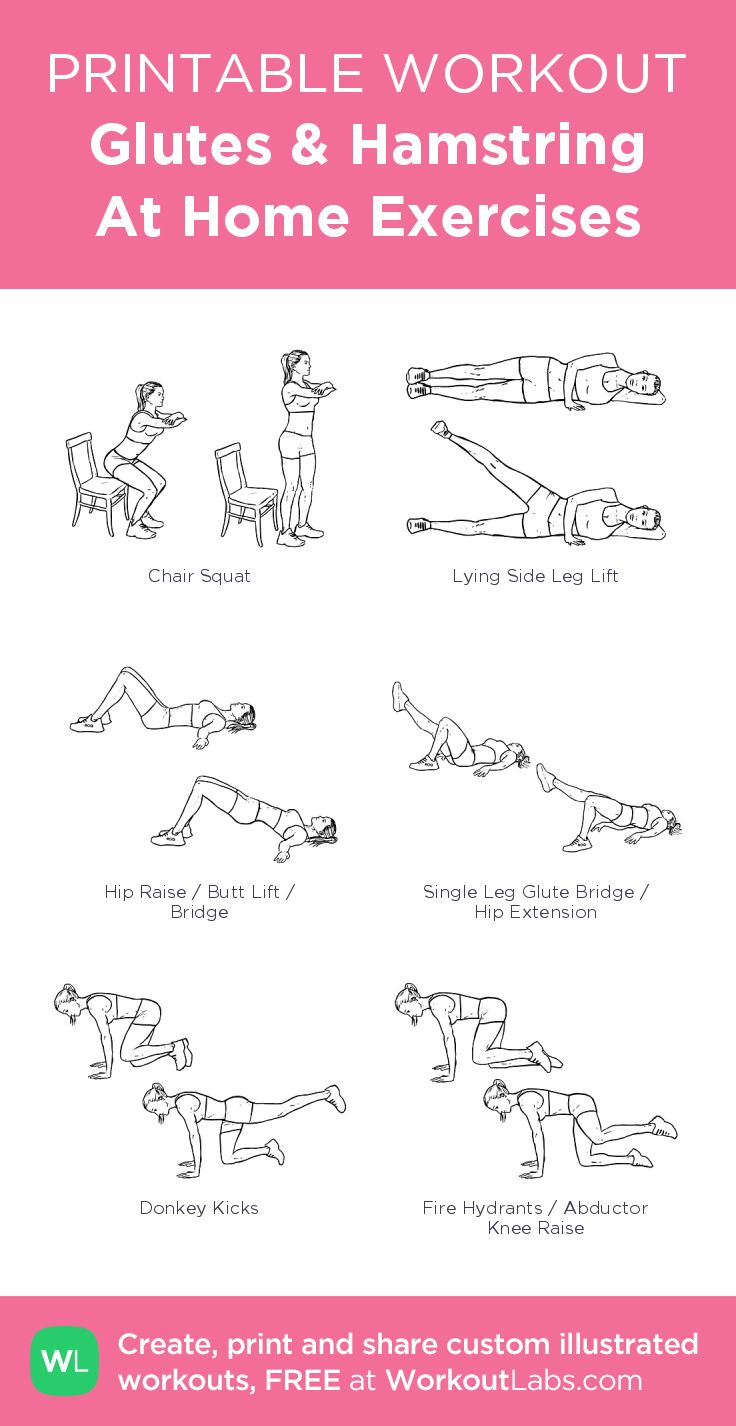 Glutes & Hamstring At Home Exercises – my custom exercise plan created at WorkoutLabs.com • Click through to download as a printable workout PDF #customworkout