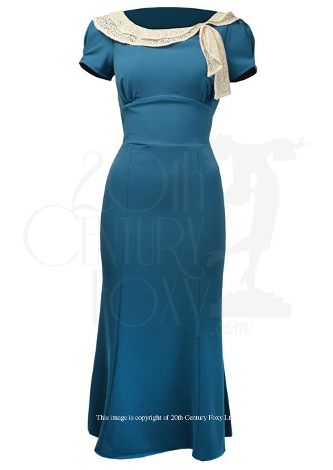 1930s Charm Dress - teal - Fashion 1930s, 1940s & 1950s style - vintage reproduction