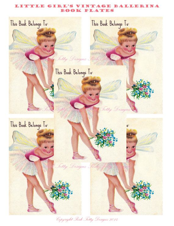 Vintage Little Girl'sBy Maria Elena Lopez Ballerina Printable Digital Image Book Plates/Stickers (434)