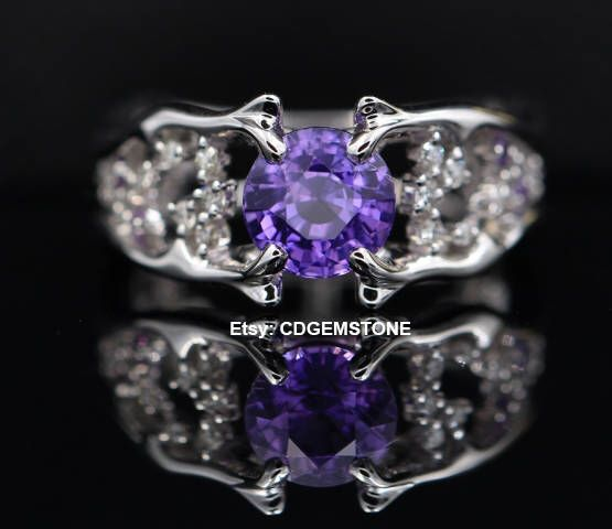 Excited to share the latest addition to my #etsy shop: 1.55ct No Heat Vivid Purple Sapphire 18K Solid White Gold Diamond Ring EGL Certified unheated round cut purple sapphire Design ring