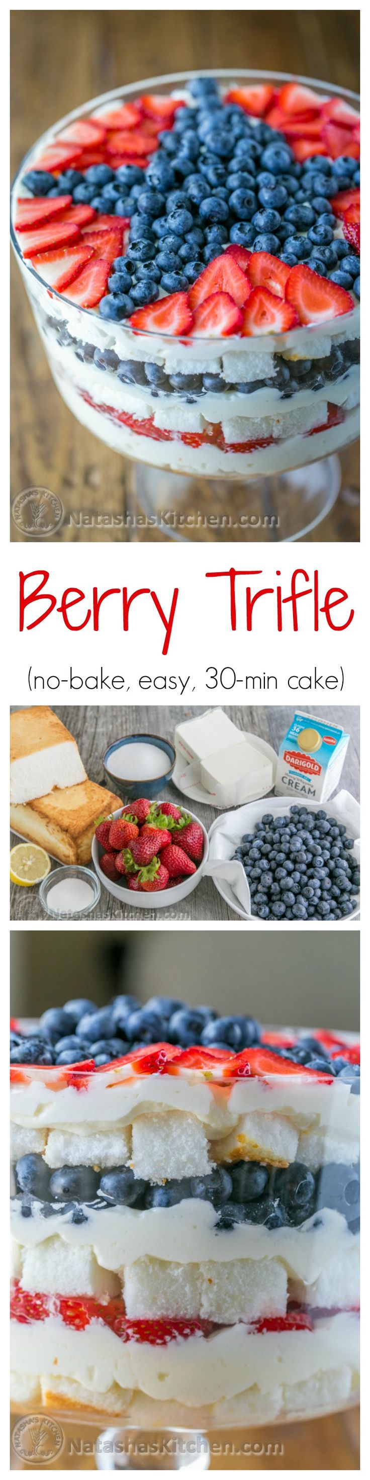 A no-bake berry trifle recipe that takes just 30 min! Loaded with blueberries, strawberries, layers of soft angel food cake and fluffy cream. Delicious!