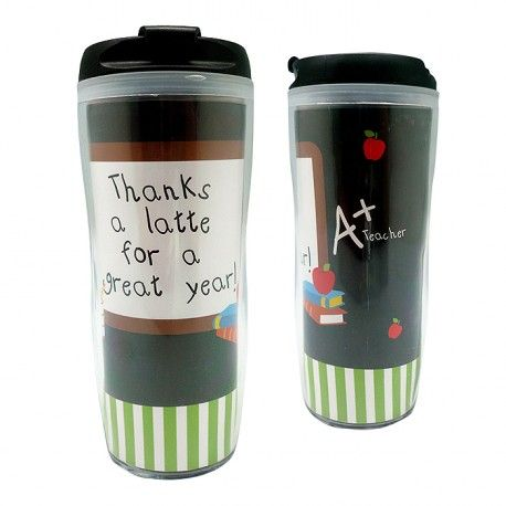 Tumbler - A+ Teacher   Char&Coll Personalized Acrylic Tumbler is reusable and a great way to keep your beverages hot or cold-allows you to be environmentally friendly as well!  We custom personalize this stylish tumbler with any name or any single, 2 or 3 initial monogram in your choice.  Keeps liquids chilled or warm for longer periods of time, with double-insulated acrylic walls and freezer safe.  Perfect for use in the home, car, classroom, travelling and so much more!