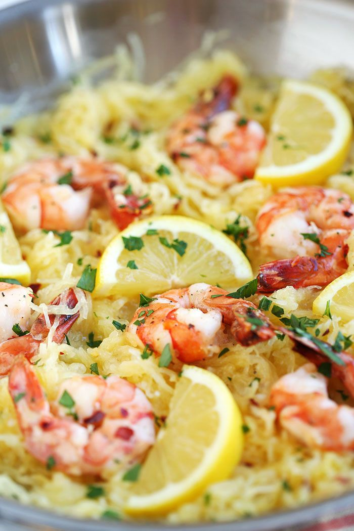 Lemon and Herb Spaghetti Squash with Roasted Shrimp   Eat Yourself Skinny
