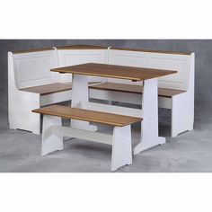 Ardmore 3-Piece Set Corner Breakfast Nook, White
