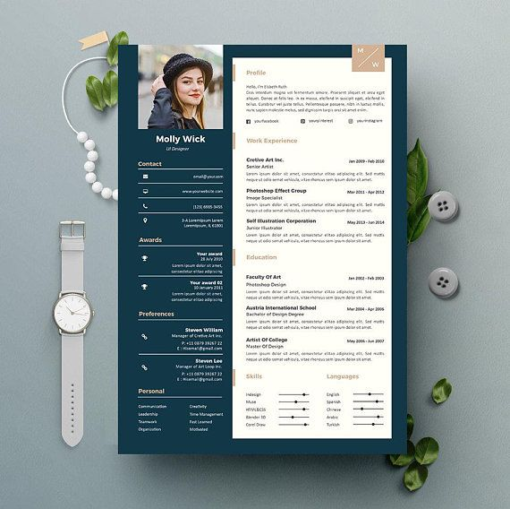 Professional Resume Instant Download 2 Pages CV template + Cover