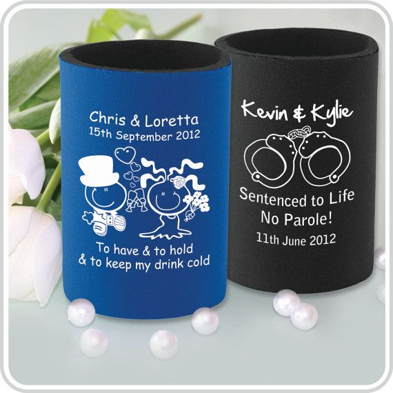 60 Printed Wedding Stubby Holders by PersonalisedFavours on Etsy, $280.00; Attendents gifts