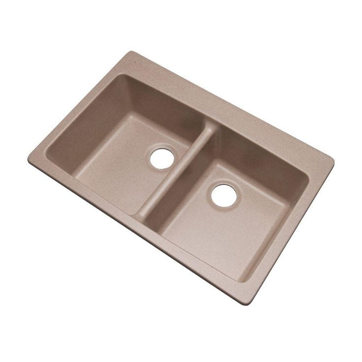 Mont Blanc Waterbrook Dual Mount Composite Granite 33 in. Double Bowl Kitchen Sink in Desert Sand