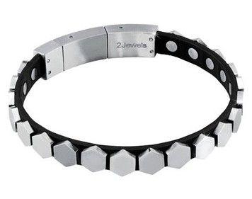 Bracciale 2jewels, alla moda, da uomo in acciaio  e pelle vera