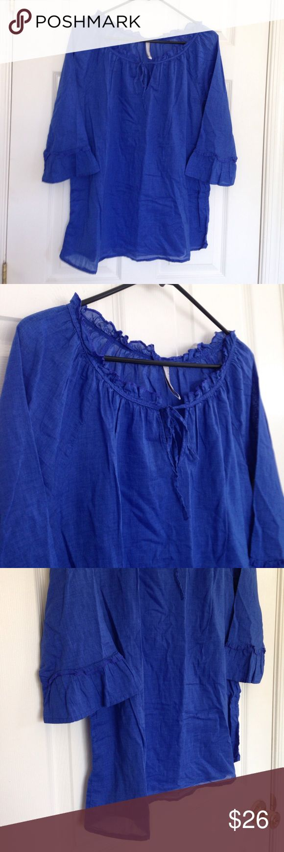 Royal Blue Ruffle Blouse 21