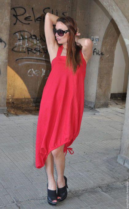 Шикарный сарафан. Красный сарафан. Платье с открытой спинкой. Летнее платье.