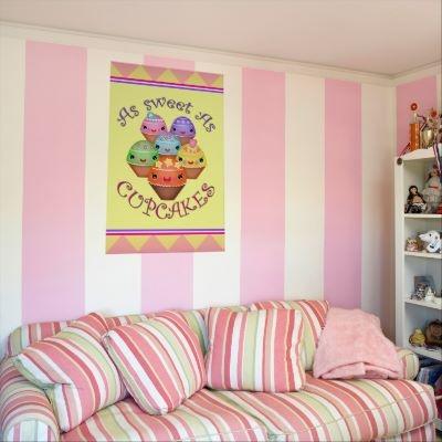 Kawaii Cupcakes Girl's Bedroom Art Poster / Print  #poster #cupcakes #art #jamiecreates1 #zazzle