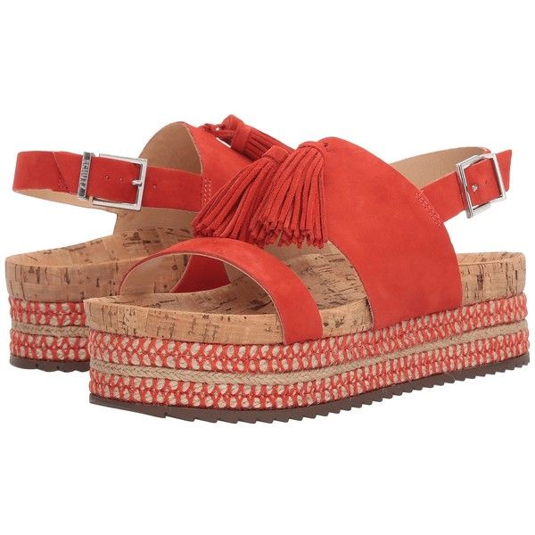 Schutz Monica (Nice Orange) Women's Shoes ($200) ❤ liked on Polyvore featuring shoes, sandals, orange platform sandals, schutz shoes, sling back sandals, slingback shoes and sling back shoes