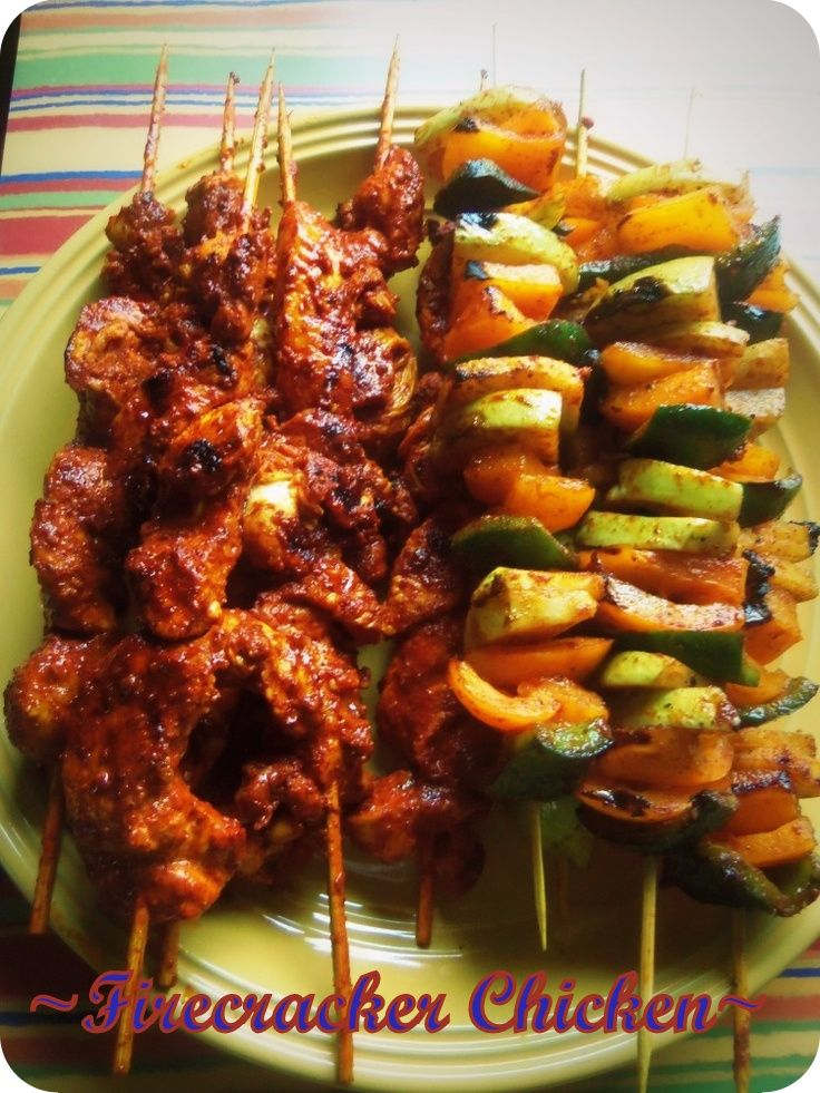Firecracker Chicken and Chayote Skewers - Hispanic Kitchen. I will grill these outdoors next time!