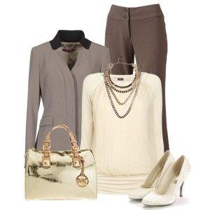 С чем носить белые туфли: коричневые брюки, бежевый свитер, серый жакет, сумка цвета золотого металлика