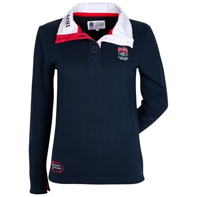 England Rugby Classic Collection Funnel Neck Rugby Shirt - Navy - Womens