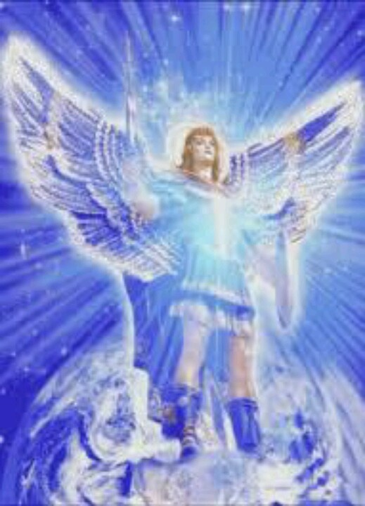 San Miguel Arcangel con su Rayo de Luz Azul