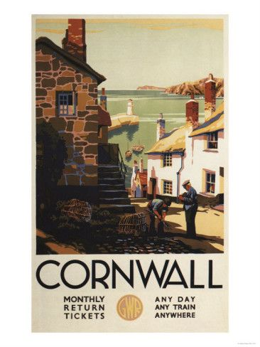 Cornwall, England - Street Scene with Two Men Working Railway Poster Premium Poster