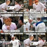 Chef Ramsay goes Swedish...Swedish Chef, that is. I'd so watch Hell's Kitchen if the Swedish Chef had a cameo. Speaking of cameos, hi there Camilla the chicken!