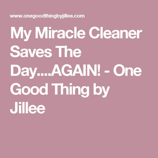 My Miracle Cleaner Saves The Day....AGAIN! - One Good Thing by Jillee