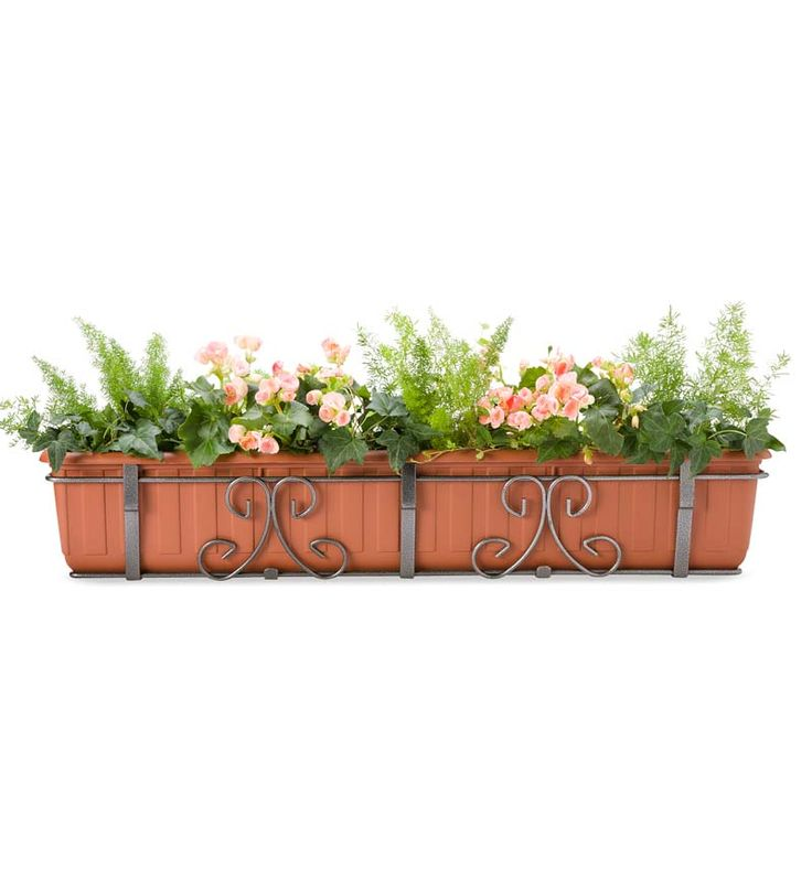 Large Self-Watering Railing Planter, 40&quot