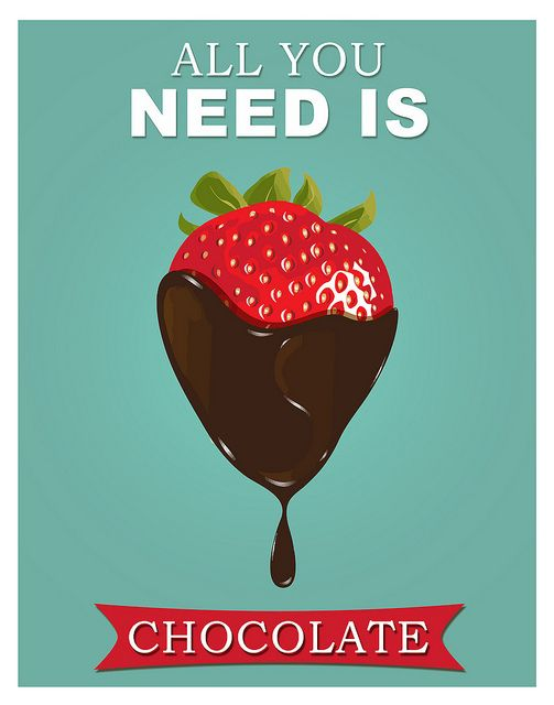 Chocolate poster strawberry print Kitchen art - All you need is chocolate (I love the colors for my kitchen!)