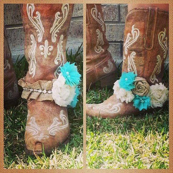 Burlap and rhinestone boot bling boot strap by RibbonandRhinestone, $30.00