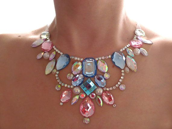 Pink and Blue Rhinestone Floating Illusion Necklace, Blue and Pink Statement…
