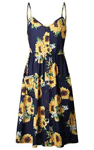 8c3cab49c21 Angashion Women s Dresses-Summer Floral Bohemian Spaghetti Strap Button  Down Swing Midi Dress With Pockets
