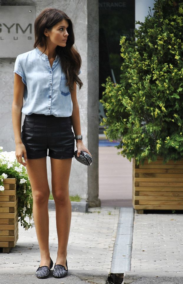 black leather shorts + denim shirt