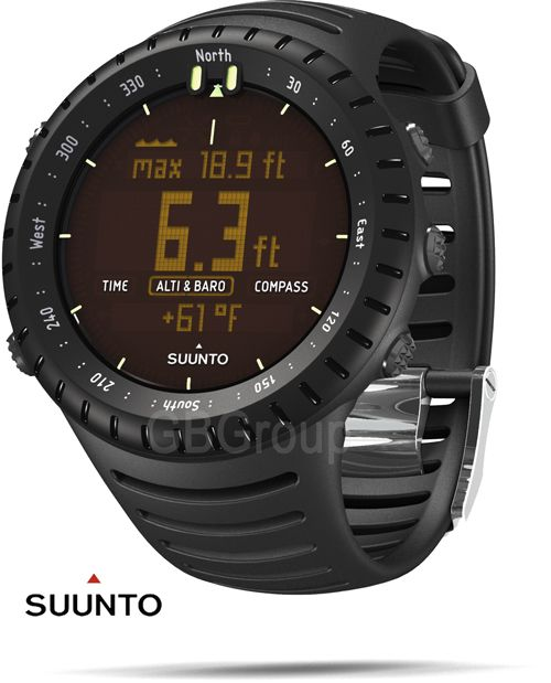 Suunto Sick Watch- Has a clock, compass, stop watch, depth finder, and a thermometer.