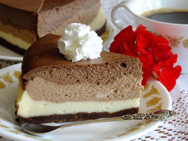 z cukrem pudrem: sernik z trzema czekoladami