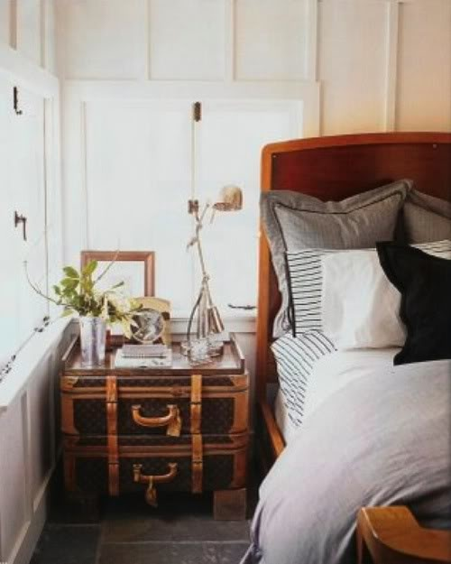 LV luggage bedside table