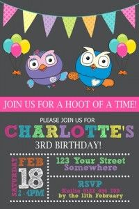 Girls Giggle and Hoot invitation invite