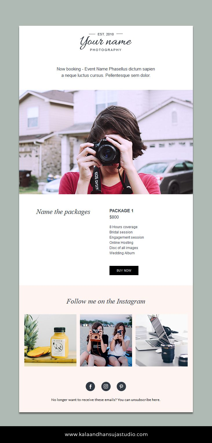 Email Newsletter Template Photography Email Template Pricing Guide Template Email Marketing Email Marketing Design Email Marketing Template Email Design