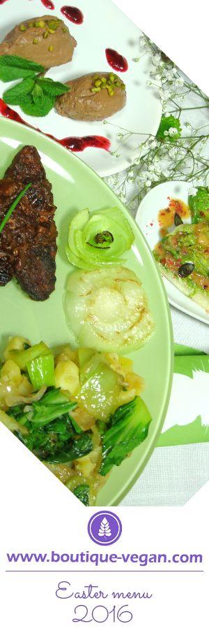 Vegan Easter menu 2016: Starter: Grilled Romana Lettuce Hearts - Main Dish: Pak Choi Mashed Potatoes with Ultimat Miigan-Filet-Steaks - Dessert: Choco-Coconut-Mousse