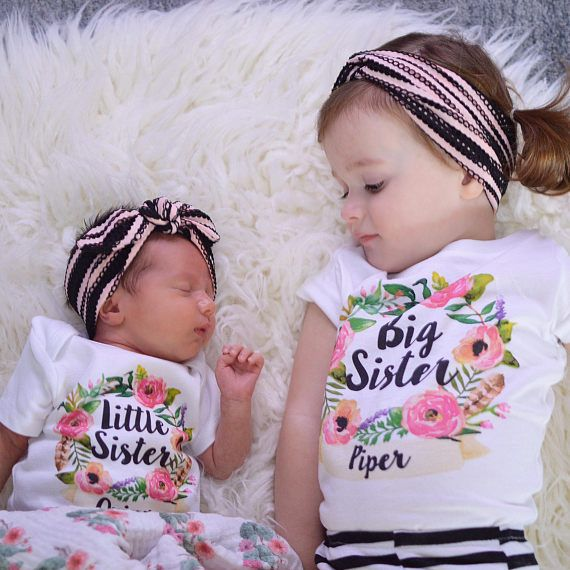 How Sweet Are These Matching Sisters Perfect For A Big Sister Announcement Big Sister Little Sist Sister Outfits Baby Girl Floral Big Sister Little Sister