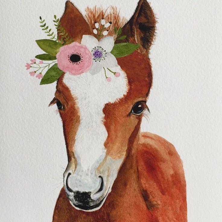 Horse Foal Nursery Art Print Farm Animal Nursery Decor