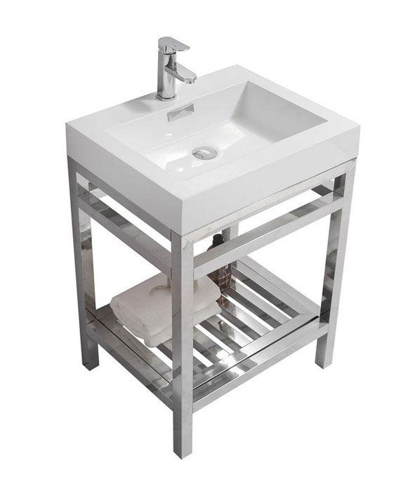 24 porto stainless steel vanity available in chrome or matte black rh pinterest com