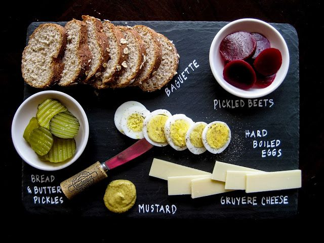 Ploughman's Lunch - Karis' Kitchen   A Vegetarian Food Blog: Food Items Listed On Slate Cheese Board.