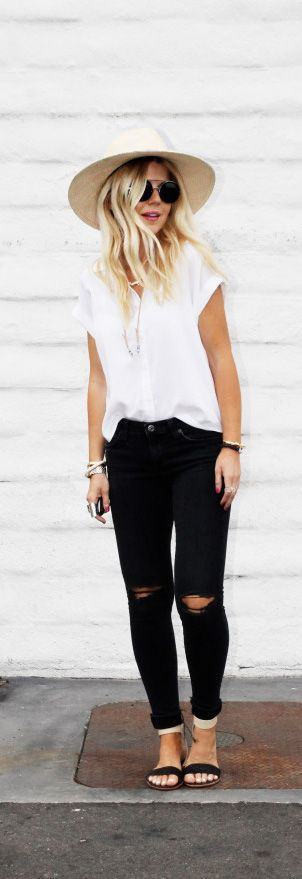 black skinnies + white shirt + summer hat