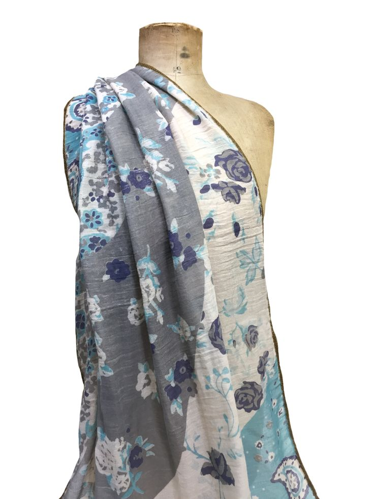 Hem&Edge Teresa scarf – paisley with roses & woven edge #aqua #grey 100% viscose 70x180cm #beautifulblues #scarf #accessories #onebutton #hemandedge Click to buy from the One Button shop.