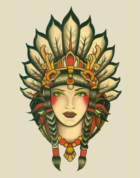 Indian Girl by Lil Chris Princess Tribal Chief Tattoo Canvas Art Print – moodswingsonthenet