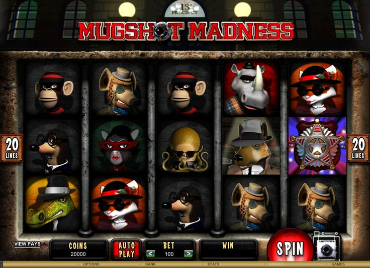 Mugshot madness is 5 Reel 20 Payline Online Video Slot. Bonus Features include a Jack Murphy Wild and a Line-Up feature where players can achieve 15, 20 0r 25 Free Spins!