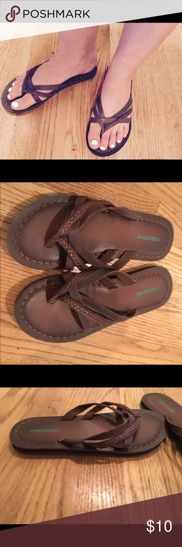 Women's/Junior's brown leather like sandals Brown, strappy, leather like flip flop sandals. Perfect condition. Only worn once. Size 6.5, from Maurices. Maurices Shoes Sandals