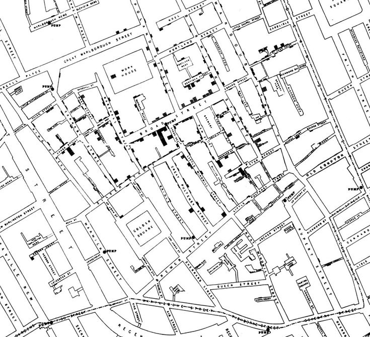 Beginnings of Epidemiology > John Snow's data journalism: the cholera map that changed the world  John Snow's map of cholera outbreaks from nineteenth century London changed how we saw a disease - and gave data journalists a model of how to work today