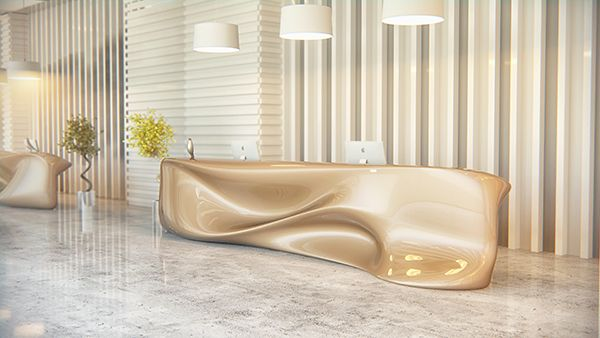 """Undulating DeskThe Nitska desk is a reflection of waves and water movements frozen in time. Soft and gentle-looking yet rigid and durable, the design's """"melting"""" visual peculiarity is sure to be a functional focal point of any reception area or office space."""
