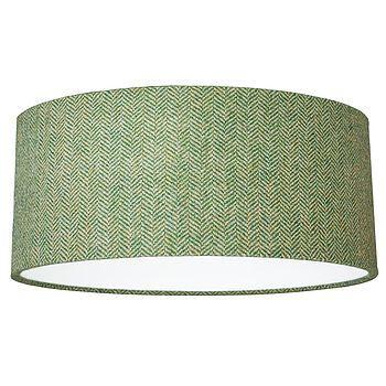 Green Herringbone Harris Tweed Lampshade - bedroom