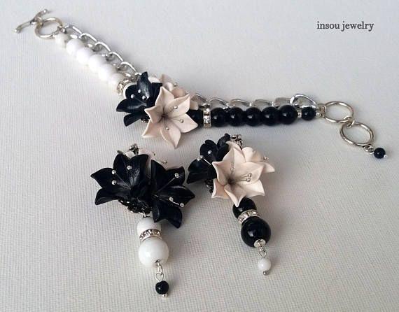 Black white jewelry  Christmas Jewelry  Black white bracelet