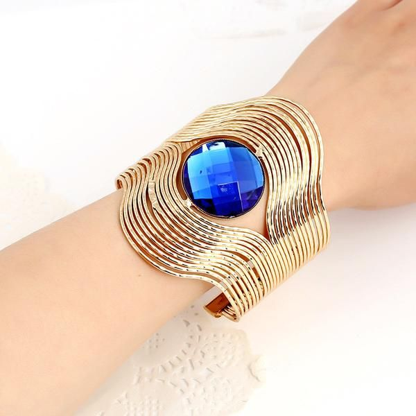 Punky Style Hollow Cuff Retro Braid Big Imitation Gemstone Open Armband Bangles For Women Charm vintage Multilayer Wide Bracelet - cubic zirconia jewelry